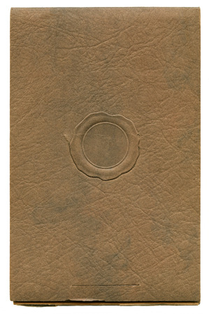 Antique paper photograph cover background with faux wax seal Stok Fotoğraf