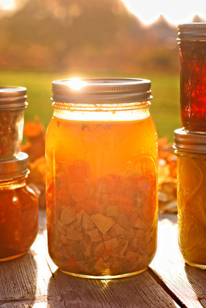 chicken soup: Glass jar of home canned chicken soup in autumn sunlight Stock Photo
