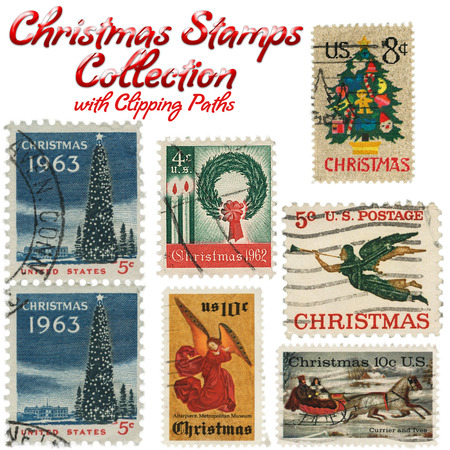 postage stamp: Collection of vintage Christmas postage stamps