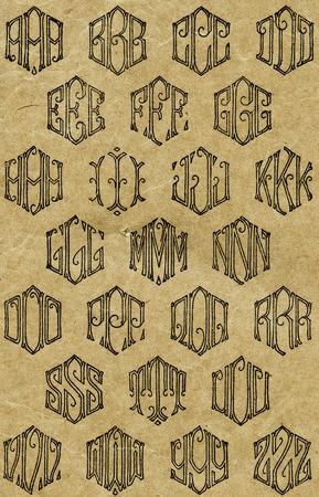 Sheet of vintage monogram patterns used for sewing