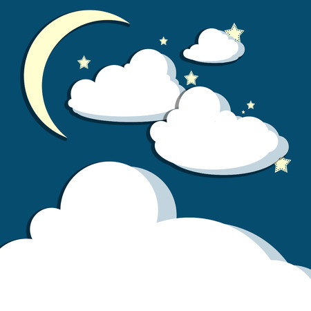 billow: Crescent moon above stars and billowing clouds Stock Photo