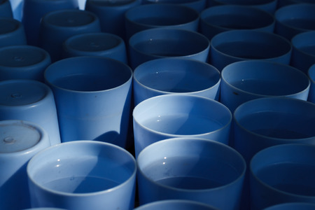 throwaway: pattern blue plastic cup drink photo stock Stock Photo