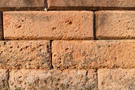 safty: close up orange brick wall pattern photo Stock Photo