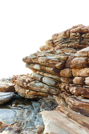 stratigraphy: Layers of sandstone rock for natural on white background photo