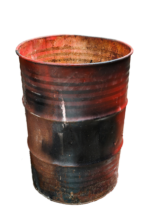 Old oil barrel and rusty isolation on white background