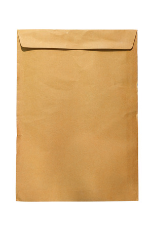 secrete: Brown closed A4 document envelope on white background