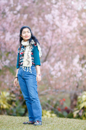 f5dbb90e58 Beauty Asian Woman In Green Sweater And Scarf