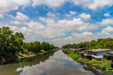 house side river, asian countryside view for background Stock fotó