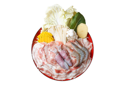 raw food with meat and seafood and vegetable in circle dish, isolation on white background