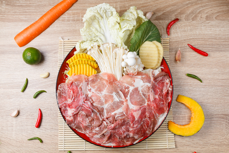 raw food with meat and seafood and vegetable in circle dish on wooden background Stock fotó