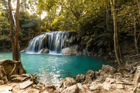beautiful view of waterfall in erawan national park in thailand