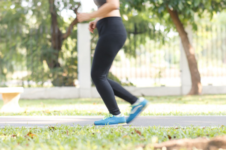 close up blue running sport shoes, healthy lifestyle concept