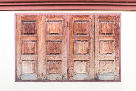 brown vintage wooden window on whait wall background