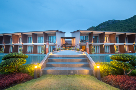 beautiful view in twilight time at sunset of resort in Thailand