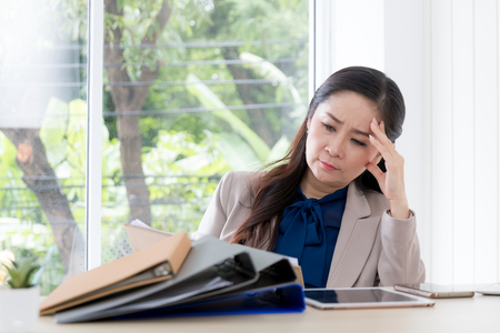 asian beauty business woman in office, stress concept Stock fotó