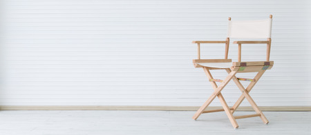 modern wooden chair on clean room wirg copyspace, minimalism concept Archivio Fotografico