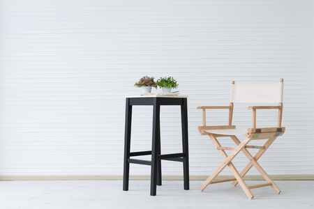 modern wooden chair on clean room wirg copyspace, minimalism concept Stock fotó