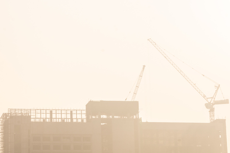 building under construction site and dusty unhealthy Banque d'images