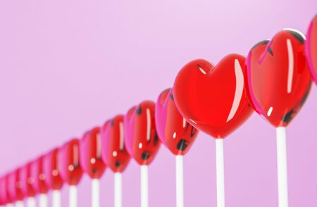 red heart candy on pink color paper, love and valentine concept for background
