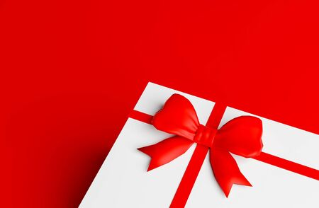 white gift box and red ribbon on red color background 3D render Stock fotó