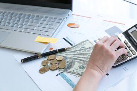 online financial planning concept, business workplace with paper on destop