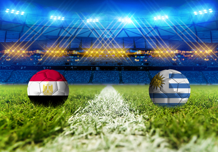 3D rendering Football Russia 2018. group A, Egypt VS Uruguay Stock Photo