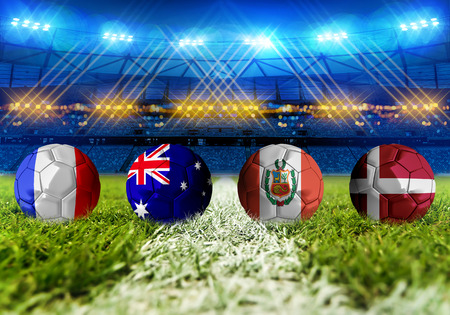 3D rendering Football Russia 2018. group C, France, Australia, Peru, Denmark