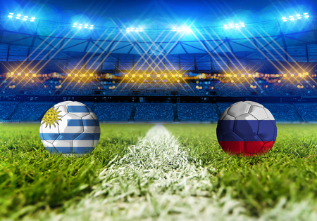 3D 렌더링 축구 러시아 2018입니다. 그룹 A, 우루과이 대 러시아 스톡 콘텐츠
