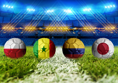 3D rendering Football Russia 2018. group H, Poland, Senegal, Colombia, Japan Stock Photo