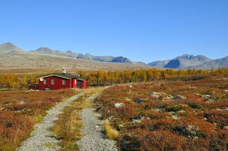 Rondane National Park in Norway in the autumn sunshine. Stock Photo