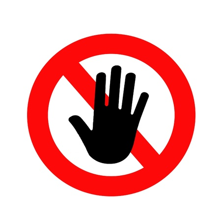 forbade: Attention, Black Hanbd on warning label. Stock Photo