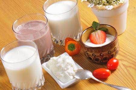 Various dairy products on a table. Stock Photo