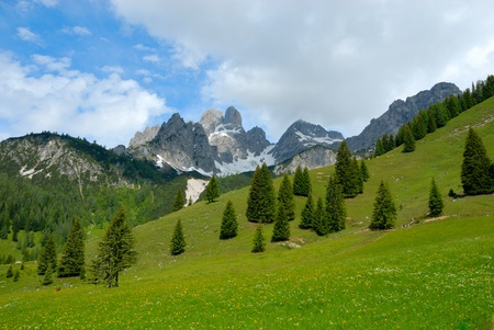 Dachstein mountains, overlooking the bishops cap, in the Alps.