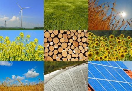 technology collage: Various possibilities for the production of green electricity.