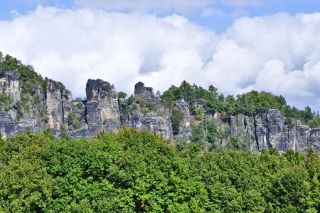 bastion: The Saxon Switzerland with Bastion massif in Rathen.