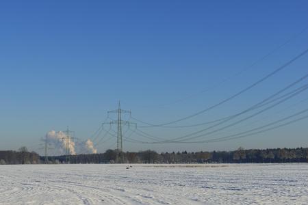 powerline: Electricity pylon with powerplant, powerline,