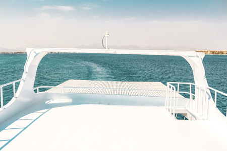 luxury yacht, stern interior, comfortable design for rest leisure tourism travel and vacation concept Stock Photo