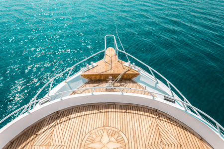 luxury yacht, stern interior, comfortable design for rest leisure tourism travel and vacation concept Фото со стока