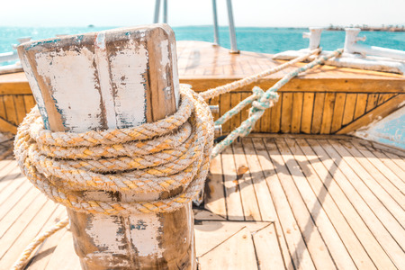 Sailboat winch and rope yacht detail. Yachting. Yacht winch Stock Photo