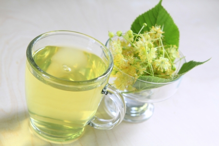 linden blossom: a tea of linden blossom Stock Photo