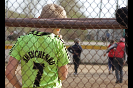 back gate: goalkeeper is waiting for ball Editorial