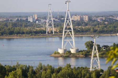 cableway across the river in Nizhny Novgorod in Russia