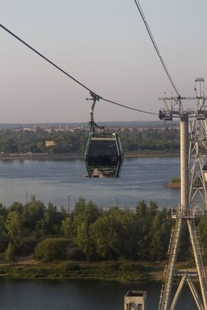 Nizhny Novgorod, Russia, August 21, 2016: cableway across the Volga