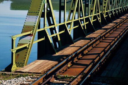 Railway bridge over the lake Skadar in Montenegro Stok Fotoğraf