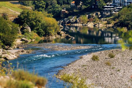 Moraca River in Podgorica city in Montenegro