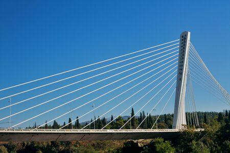 The Millennium bridge over the river Moraca in Podgorica Stok Fotoğraf