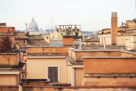 Rome old city view in calm beige colors