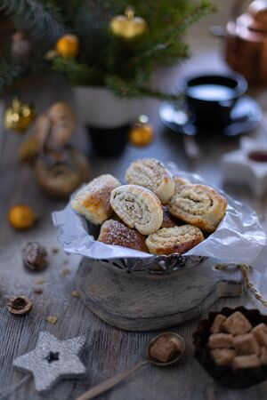 Oriental pastry made from puff pastry and wrapped in it a filling of sugar, butter and walnut. Stok Fotoğraf
