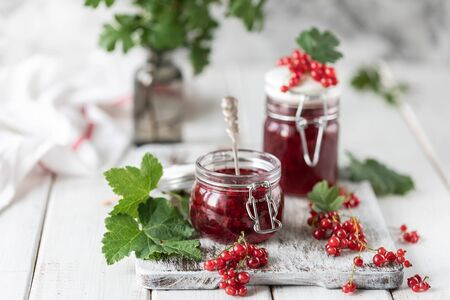 Fresh homemade red currant jam or sauce in a jar, selective focus. Place for text. Copy space