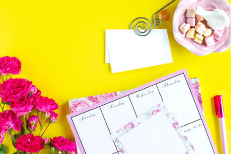Planning of important things, pink writing instruments on a colored background. things to do. Top view.